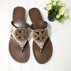 Tory Burch Louisa Python Wedge Thong Sandals, 9.5